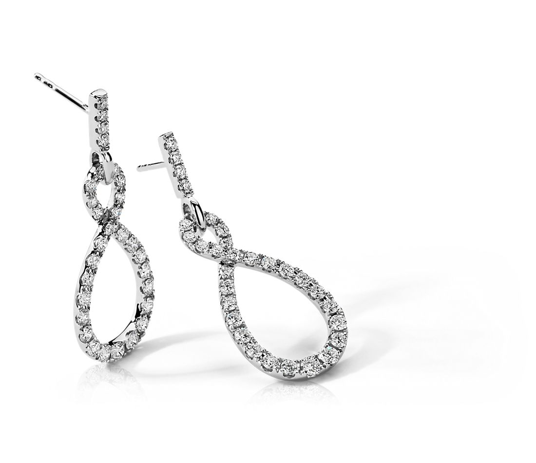 Infinity Diamond Earrings in 14k White Gold (1 1/2 ct. tw.)