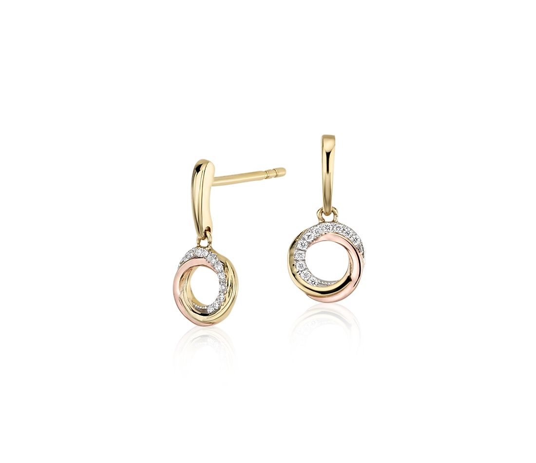 Infinity Diamond Circle Drop Earrings In 14k Tri Color Gold