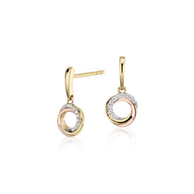 Infinity Diamond Circle Drop Earrings in 14k Tri-Color Gold