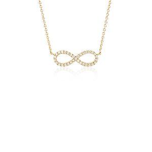 Mini Infinity Diamond Pendant in 14k Yellow Gold