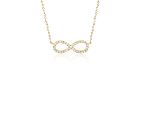 Mini Infinity Diamond Pendant in 14k Yellow Gold