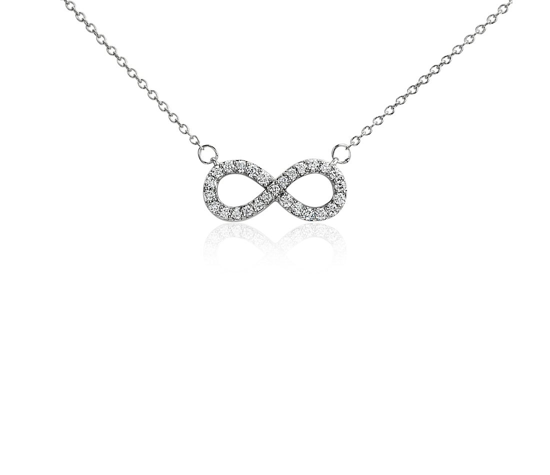 Infinity Diamond Necklace in 14k White Gold (1/4 ct. tw.)