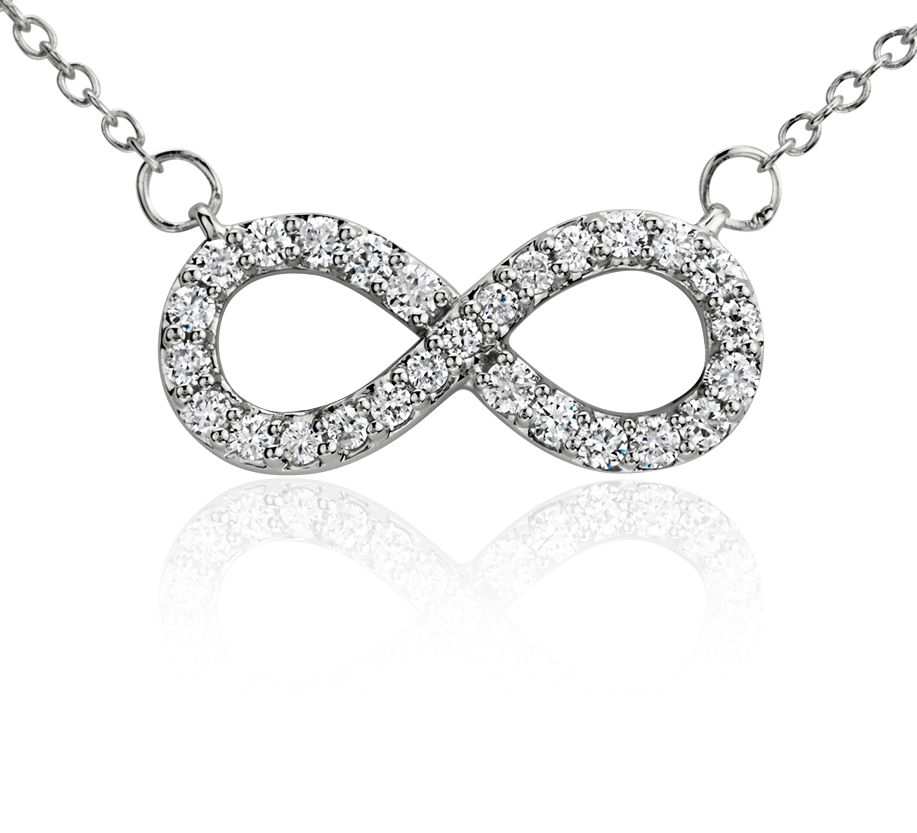 Collier diamants infini en or blanc 14carats (1/4carat, poids total)