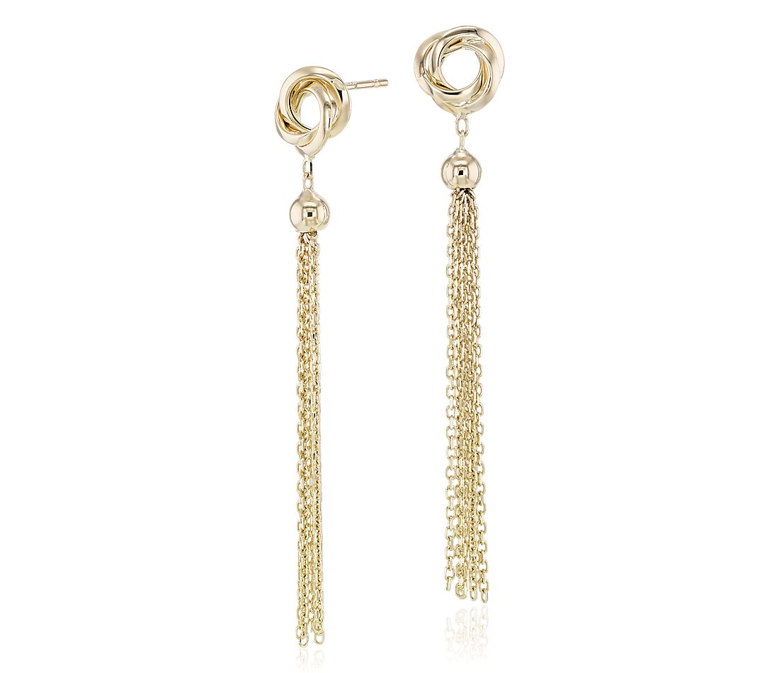 Infinity Knot with Tassel Earrings in 14k Yellow Gold