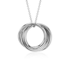 Infinity Rings Pendant in 14k White Gold