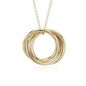 Colgante de anillos infinitos en oro amarillo de 14k