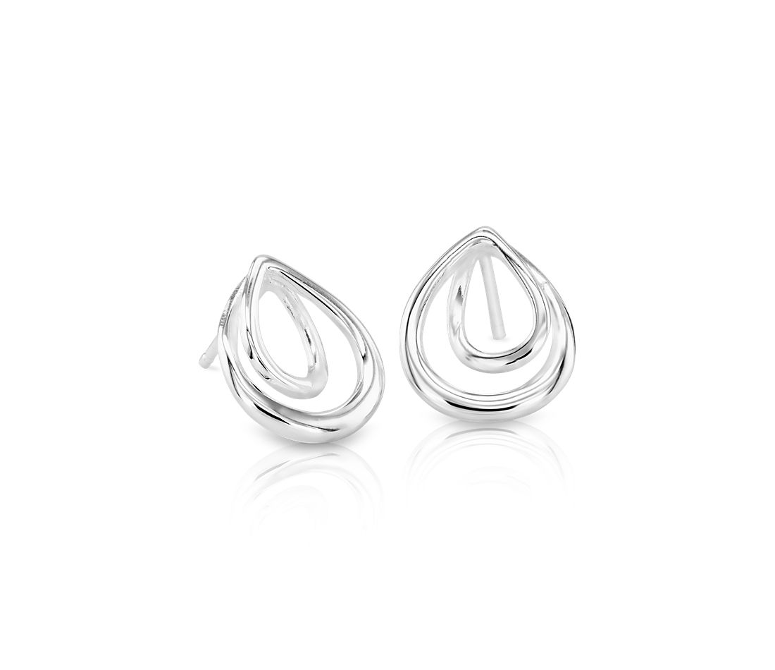 Infinity Teardrop Stud Earrings In Sterling Silver