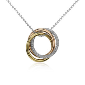 Infinity Trio Diamond Pendant in 14k Tri-color Gold (1/3 ct.tw.)