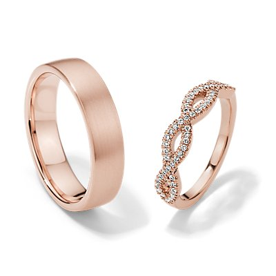 Infinity Twist and Matte Modern Comfort Fit Set in 14k Rose Gold