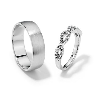 Infinity Twist and Matte Modern Comfort Fit Set in 14k White Gold
