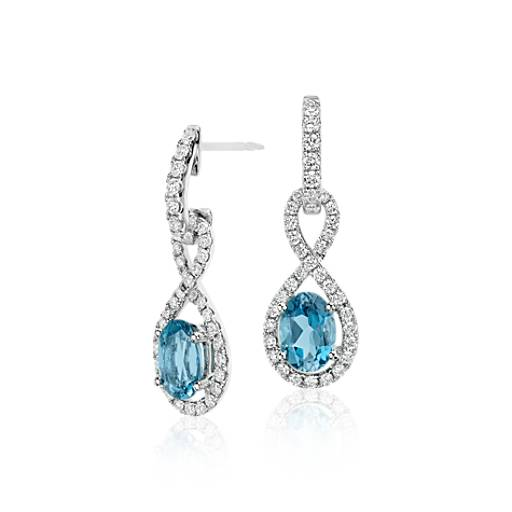 Aquamarine And Diamond Infinity Twist Drop Earrings In 18k
