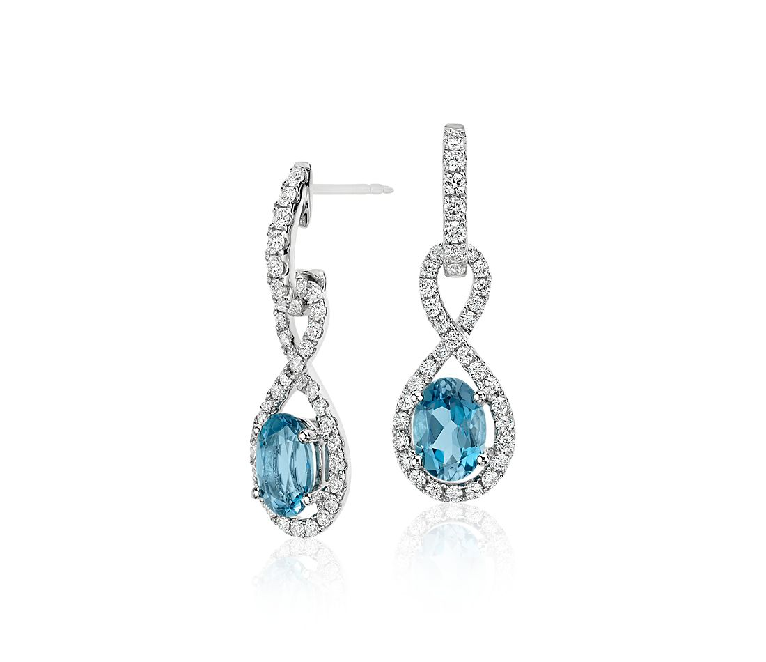 Aquamarine and Diamond Infinity Twist Drop Earrings in 18k White Gold (7x5mm)