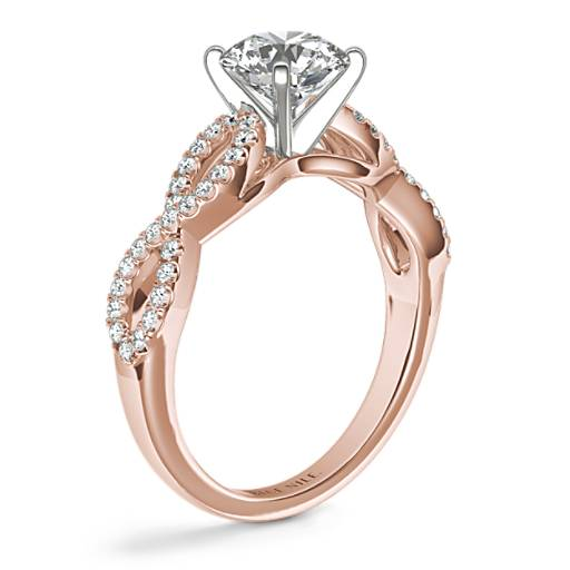 Infinity Twist Micropavé Diamond Engagement Ring