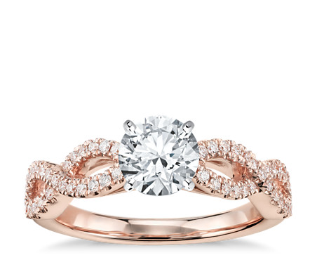 infinity real in rose gold wedding setmain ring your diamond ct engagement micropav twist rings tw build own