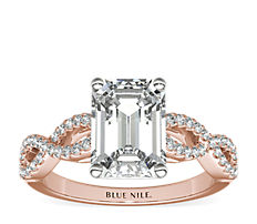 Infinity Twist Micropavé Diamond Engagement Ring in 14K Rose Gold (0.25 ct. tw.)