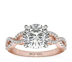 Bague de fiançailles torsadée Infinity en diamants sertis micro-pavé en or rose 14carats (0,25carat, poids total)