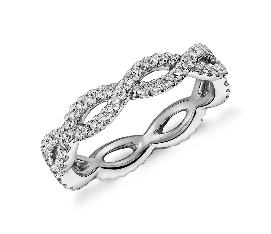 Infinity Twist Eternity Ring in 14k White Gold (1/2 ct. tw.)