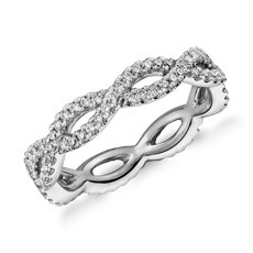 Infinity Twist Eternity Ring in 14k White Gold