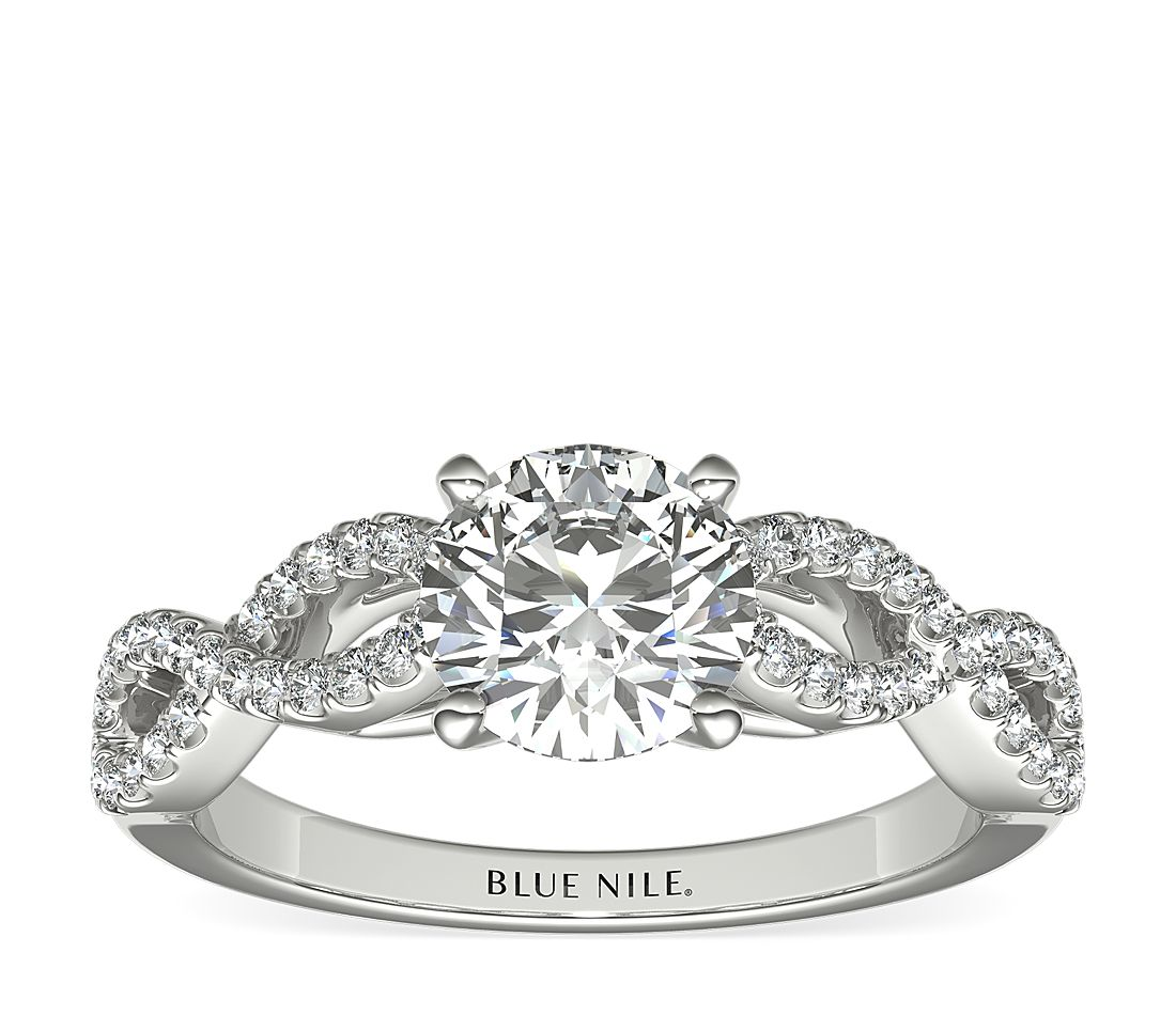 1 Carat Ready-to-Ship Infinity Twist Micropavé Diamond Engagement Ring in Platinum