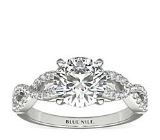 Infinity Twist Micropavé Diamond Engagement Ring in Platinum (1/4 ct. tw.)
