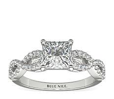 鉑金Infinity 扭紋微密釘鑽石訂婚戒指(1/4 克拉總重量)