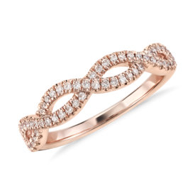 Alliance en diamants sertis micro-pavé torsadée Infinity en or rose 14 carats (1/5 carat, poids total)