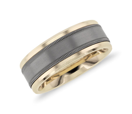 Beveled Edge Wedding Band with Milgrain Inlay in Tantalum and 14k Yellow Gold (8mm)