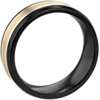 Two-Tone Inlay Wedding Band in Black Titanium and 14k Yellow Gold (7mm)