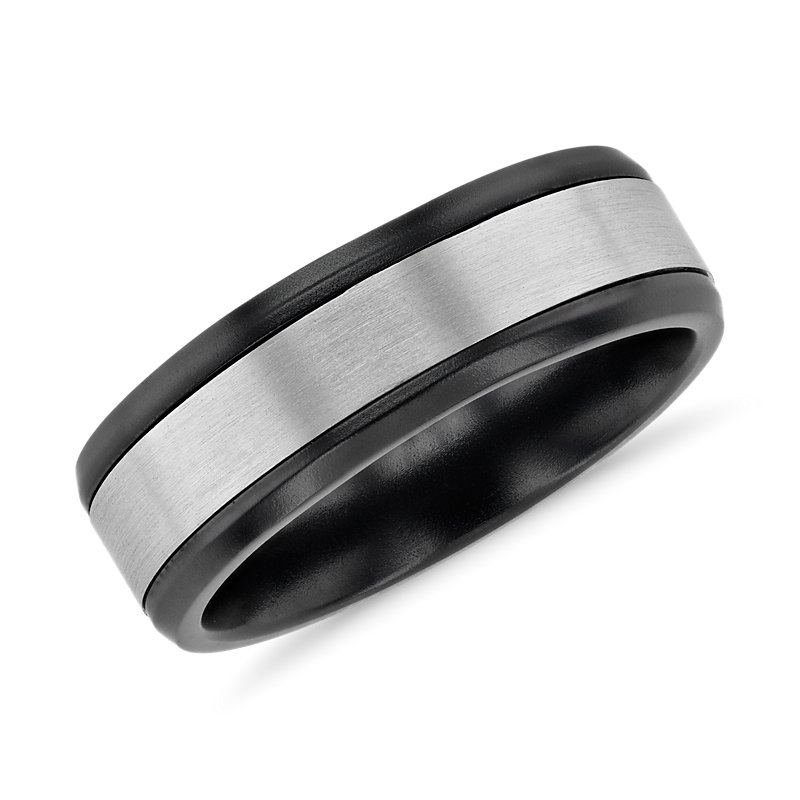 Two-Tone Inlay Wedding Band in Black Titanium and 14k White Gold (7mm)