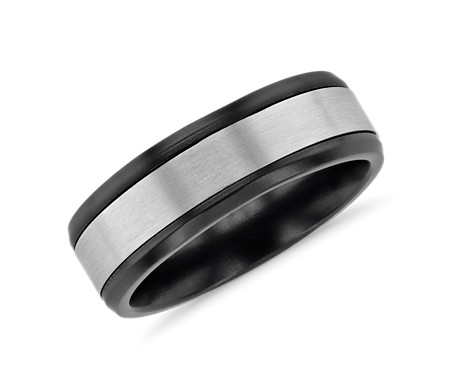 Inlay  Wedding Ring in Black Titanium and 14k White Gold (7mm)