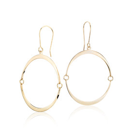 Pendants d'oreille ornés Inner Circle d'Angela George en or jaune 14 carats