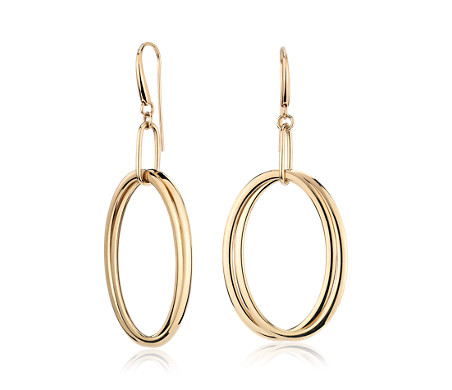 Interlocking Hanging Oval Hoop Earrings in 14k Yellow Gold