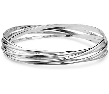Interlocking Bangle Bracelets in Sterling Silver