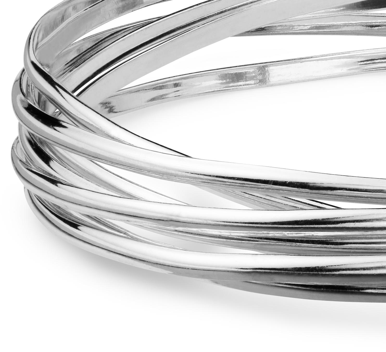 Bracelets jonc entrelacés en argent sterling