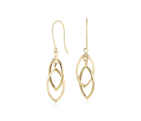 Interlocking Teardrop Earrings in 14k Yellow Gold