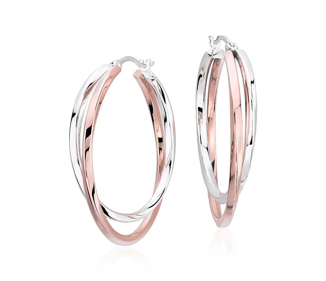 6d49301506419 Intertwining Hoop Earrings in Sterling Silver and Rose Gold Vermeil (1 1/2