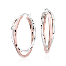 "Intertwining Hoop Earrings in Sterling Silver and Rose Gold Vermeil (1 1/2"")"
