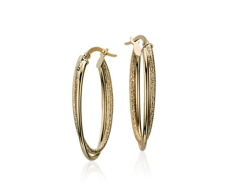 Blue Nile Hoop Earrings in 14k Tri-Color Gold (3/4) P4XFmT7