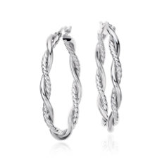 "NEW Intertwined Oval Hoop Earrings in Sterling Silver (1 1/2"")"