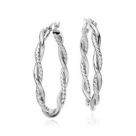 "Intertwined Oval Hoop Earrings in Sterling Silver (1 1/2"")"