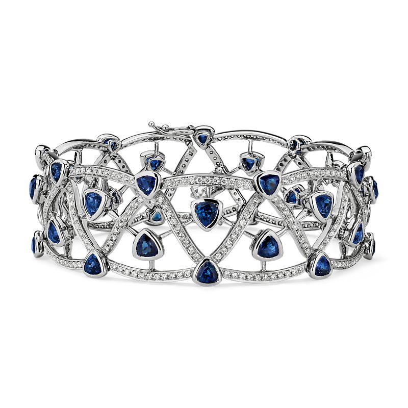 Intertwined Sapphire and Lattice Openwork Link Bracelet in 18k Wh