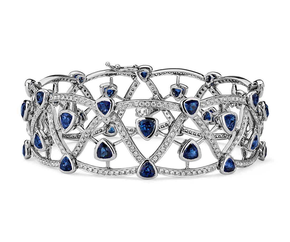 18k 白金缠结蓝宝石和花式中空链状手链对戒