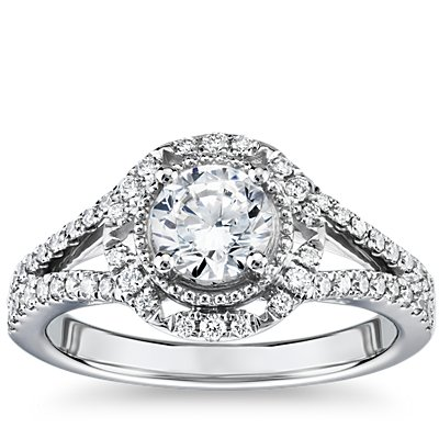 Inverse Scalloped Halo Diamond Engagement Ring in 14k White Gold (3/8 ct. tw.)