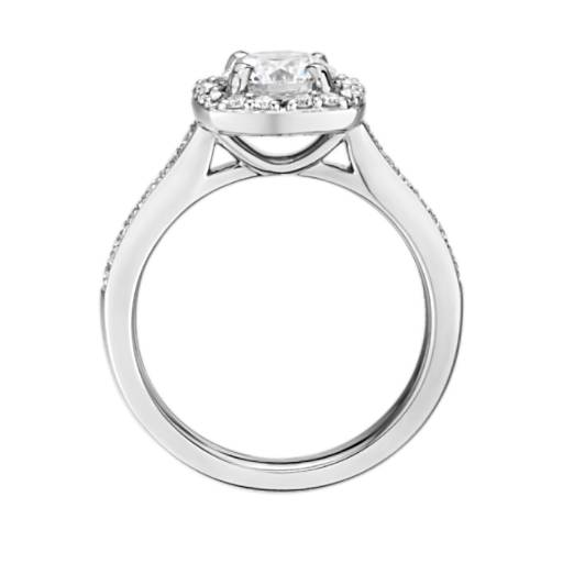 Inverse Scalloped Cushion Halo Diamond Engagement Ring