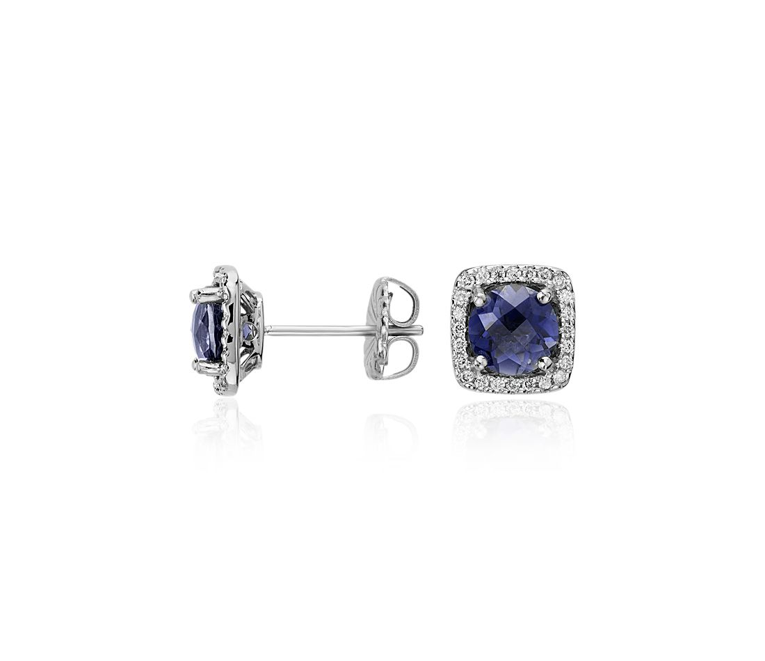 Iolite and Diamond Cushion Stud Earrings in 14k White Gold