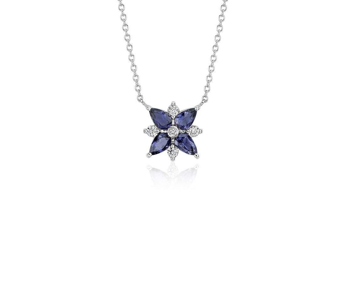 Iolite and Diamond Cluster Necklace in 14k White Gold (5x3mm)