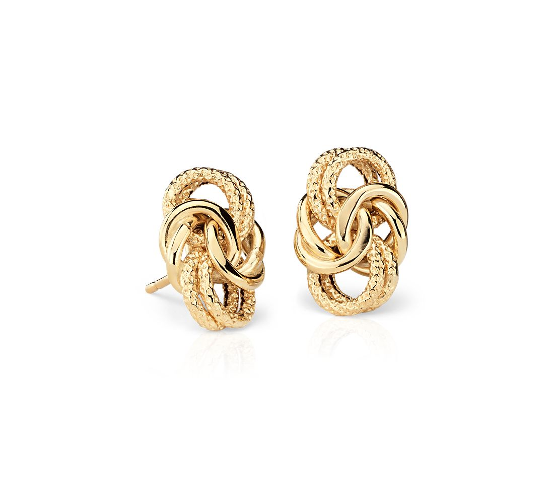 Byzantine Knot Earrings In 18k Italian Yellow Gold