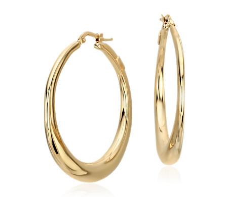 14k 意大利黄金粗圈形耳环<br>(1 1/2 英寸)