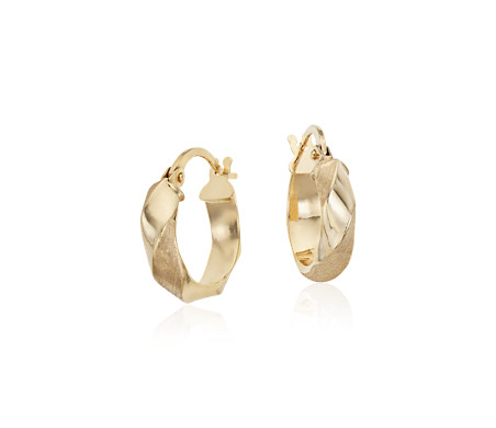 "Twisted Hoop Earrings in 14k Italian Yellow Gold (9/16"")"