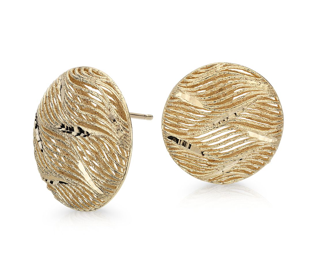 Italian Gold Oversized Button Earrings in 14k Yellow Gold